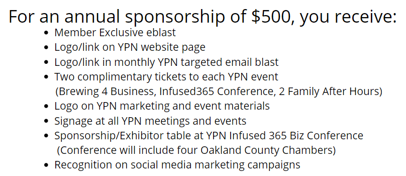 YPN Sponsorship details